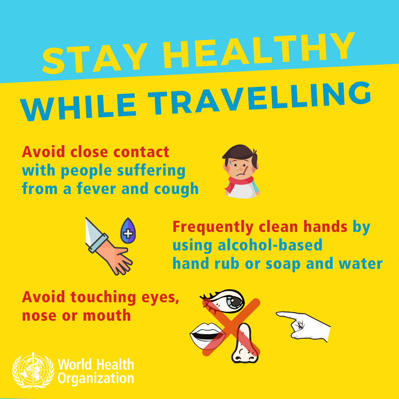 stay healthy while traveling. Coronavirus. avoid close contact