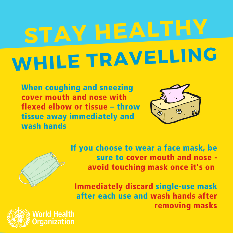 stay healthy while traveling. Coronavirus. When coughing and sneezing.