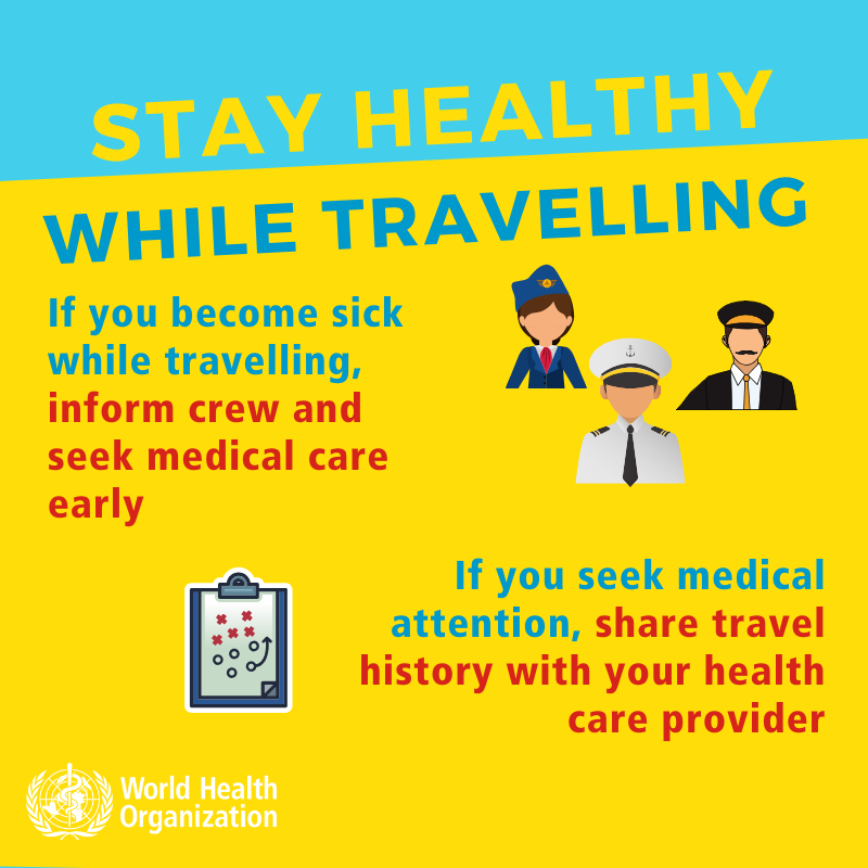 Stay healthy while traveling. Coronavirus. If you become sick inform crew.